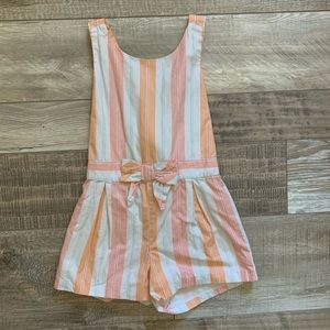 Striped romper with bow detail